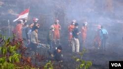 Seluruh pihak bekerja sama memadamkan kebakaran hutan dan lahan di Kalimantan Tengah. (Foto courtesy: SOB)