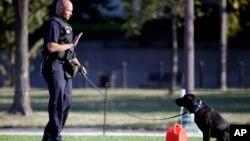 一名火警調查員和一隻警犬在華盛頓國家大草坪的自焚現場調查。消防官員說,自焚受傷的男子被直升機送往醫院。