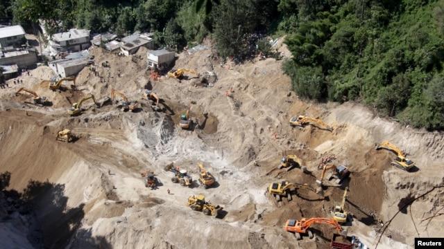 Vista de la zona de El Cambray, Santa Catarina Pinula, en las afueras de Ciudad de Guatemala, donde un deslave el 1 de octubre causó la muerte de al menos 180 personas.