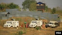 Viaturas das Nações Unidas no Sudão do Sul
