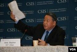 前台湾驻美代表陈锡蕃(美国之音钟辰芳拍摄)