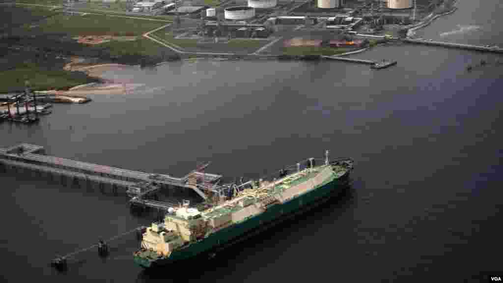 A ship berths near the Nigeria Liquified Natural Gas company (NLNG) near Finima village.