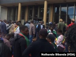 Supporters of Pastor Evan Mawarire gathering outside a Harare court.