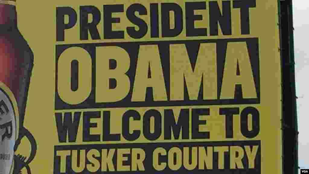 Uma companhia de cerveja dá boas-vindas ao Presidente Obama.