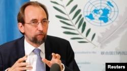 자이드 알 후세인 유엔 인권최고대표가 29일 스위스 제네바에서 기자회견을 열었다.