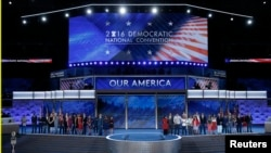FILE - Congressional candidates that are running for office and being supported by the Democratic Congressional Campaign Committee appear onstage on the third day of the Democratic National Convention in Philadelphia, Pennsylvania, July 27, 2016.