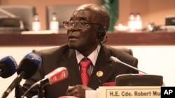 Robert Mugabe, président du Zimbabwe (AP Photo/Shiraaz Mohamed)