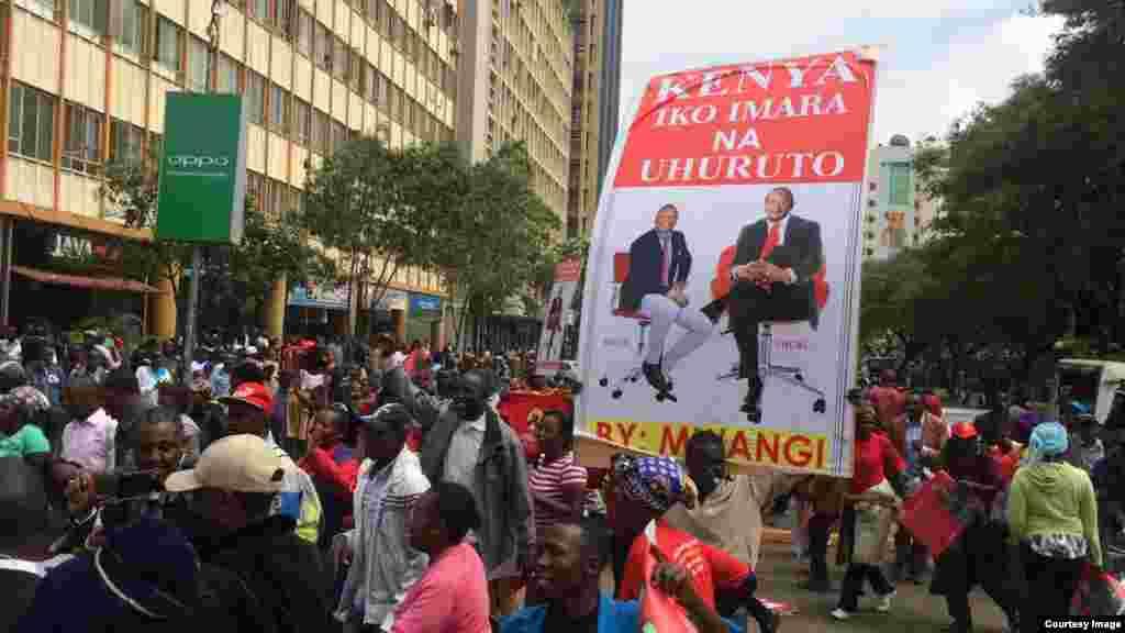 Wafuasi wa Jubilee wakiandamana mjini Nairobi