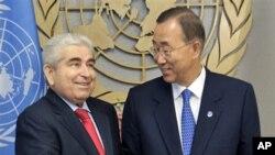 Ο πρόεδρος της Κυπριακής Δημοκρατίας Δημήτρης Χριστόφιας με τον Γ.Γ. ΟΗΕ Μπαν Κι-μουν
