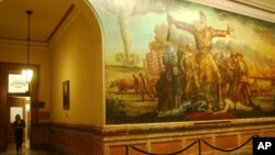 A mural of John Brown, perhaps the best known Free Stater, adorns the hallways of the Statehouse in Topeka, Kansas.