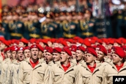 Russia's military-patriotic movement Yunarmiya cadets march during a rehearsal for the Victory Day military parade at Red Square in Moscow, May 7, 2017.