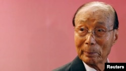 FILE - Hong Kong tycoon Run Run Shaw attends the Run Run Shaw prize presentation ceremony in Hong Kong, Sept. 28, 2010.