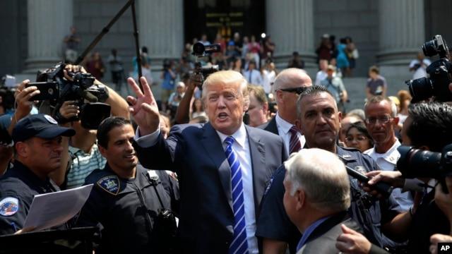 Ứng cử viên tổng thống đảng Cộng hòa Donald Trump tại New York, ngày 17/8/2015.