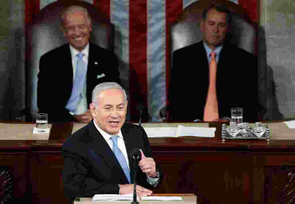 نخست وزیر اسراییل روز سه شنبه در اجلاس مشترک کنگره آمریکا تاکید کرد که کشورش به خطوط غیر قابل دفاع پیش از جنگ شش روزه سال ۱۹۶۷ باز نخواهد گشت.