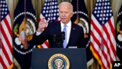President Joe Biden speaks about the COVID-19 response and vaccinations in the State Dining Room of the White House, Sept. 24, 2021.