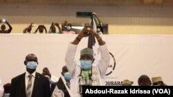 Salou Djibo a son congrès d'investiture, à Niamey, le 26 juin 2020. (VOA/Abdoul-Razak Idrissa)
