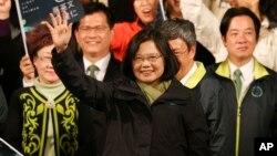 在台湾总统大选中胜选的民进党总统候选人蔡英文