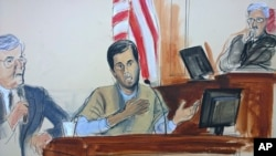 In this courtroom sketch, Turkish-Iranian gold trader Reza Zarrab, center, testifies before Judge Richard Berman, right, that he helped Iran evade U.S. economic sanctions with help from Turkish banker Mehmet Hakan Atilla, Nov. 29, 2017, in New York.
