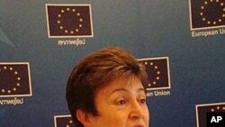 ທ່ານນາງ Kristalina Georgieva, ຫົວໜ້າຊ່ອຍເຫລືອດ້ານມະນຸດ ສະທໍາແລະຮັບມືກັບວິກິດການຂອງສະຫະພາບຢູໂຣບ. ວັນທີ 13 ກັນຍາ 2011.