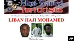 Selebaran mengenai orang yang paling dicari FBI memperlihatkan foto Liban Haji Mohamed, yang diduga merekrut orang untuk masuk kelompok teror al-Shabab di Somalia.