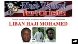 This most-wanted flier provided by the FBI shows Liban Haji Mohamed, an alleged recruiter for the al-Shabab terror group in Somalia.