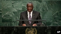 Prime Minister for Barbados, Freundel J. Stuart, addresses the U.N. Sept. 25, 2015.
