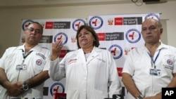 Министр здравоохранения Зулема Томас сообщает на пресс-конференции о смерти экс-президента Алана Гарсии