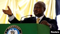 FILE - Ugandan President Yoweri Museveni delivers a speech in Juba, South Sudan, May 22, 2017.