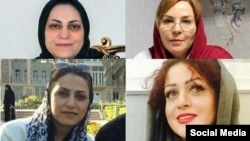 In a Sept. 6, 2018, article, exiled Iranian Dervish rights activist Alireza Roshan said Iran's detention of seven Dervish women in tough conditions near Tehran violates national prison regulations. Four of them are pictured here, clockwise from top left: Shima Entesari, Nazila Nouri, Avisha Jalaleddin and Sima Entesari.