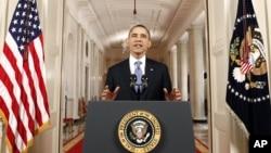 El presidente Obama habló este mediodía desde el salón Este de la Casa Blanca para celebrar y defender la ley de Salud ratificada hoy por la Corte Suprema.