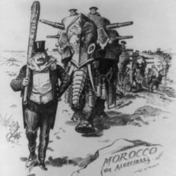 "A cartoon from Harper's Magazine shows President Roosevelt carrying his ""big stick"" while trying to end a dispute of European powers over Morocco"