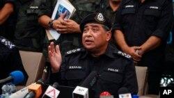 Kepala Kepolisian Nasional Malaysia Khalid Abu Bakar dalam sebuah konferensi pers di Wang Kelian, Malaysia, Mei 2015.
