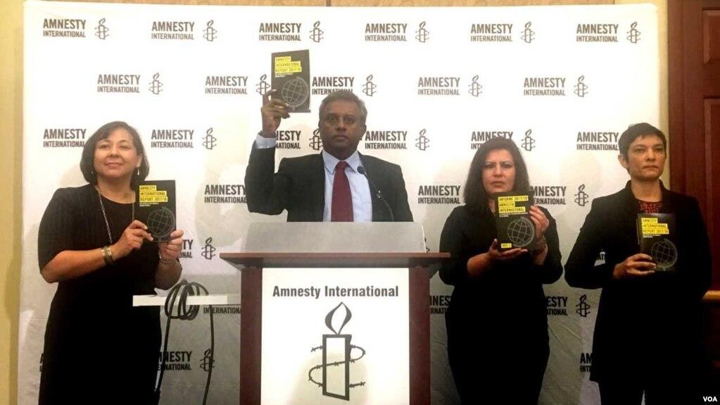 """總部設在倫敦的知名非政府組織""""國際特赦""""在華盛頓國會山發布《2017/18年度報告:世界人權狀況》。 這是該組織首次在美國本土發布年度報告。 (美國之音蕭雨拍攝)"""