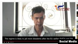 Ông Phạm Chí Dũng phát biểu trong video quay sẵn, được trình chiếu tại một hội nghị nhân quyền ở châu Âu hôm 3/12/2019. Chụp từ YouTube Quê Mẹ.
