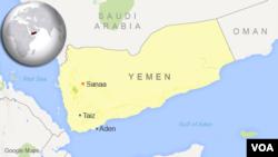 Map of Yemen showing location of Taiz