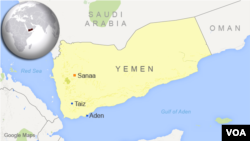 Map of Yemen showing location of Taiz