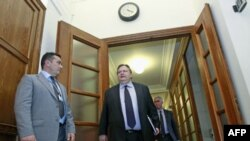 Grčki ministar finansija Evangelos Venizelos stiže na sastanak Vlade