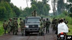Des membres de l'ex-rébellion congolaise du M23 au nord de Goma, RDC, le 27 novembre 2012.