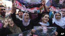 敘利亞民眾抗議阿薩德總統。