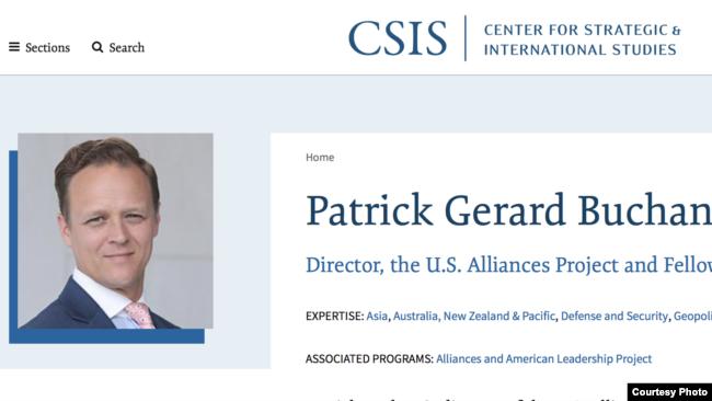 前澳大利亞國防部官員巴肯目前在CSIS任職(CSIS官網)
