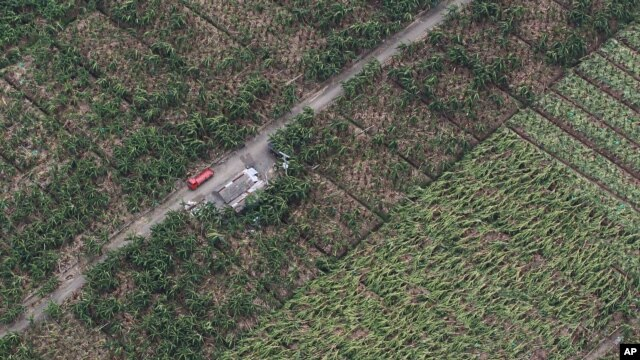 FILE - In this photo released by the Malacanang Photo Bureau shows damage on crops after flash floods caused by a powerful typhoon hit Compostela Valley, southern Philippines.
