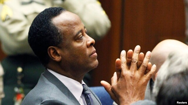 FILE - Dr. Conrad Murray was released from jail, in Los Angeles, California October 28, 2013 after serving roughly two years of a four-year sentence for involuntary manslaughter in pop star Michael Jackson's death.