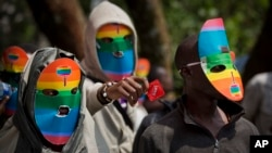 Kenya gay and lesbian activists conceal their identity at a demonstration at Uganda High Commission in Nairobi on February 10 to protest a wave of laws against homosexuality in African countries.