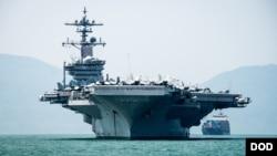 Tàu sây bay USS Carl Vinson thăm cảng Đà Nẳng ngày 5/3/2018.