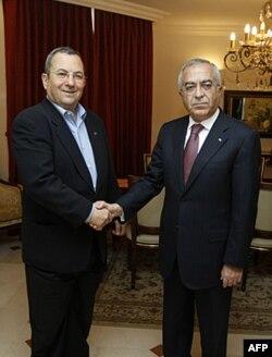Isroil Mudofaa vaziri Exud Barak va Falastin Bosh vaziri Salom Fayyod, BMT, 18-sentabr 2011