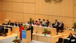 Dr. Pierre François Unger, State Councillor of the Canton of Geneva, addresses delegates at the opening of the Sixty-third World Health Assembly, 17 May 2010