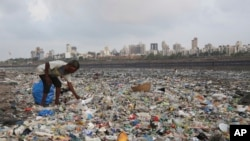 In this June 4, 2018, photo, a man collects plastic and other recyclable material from the shores of the Arabian Sea, littered with plastic bags and other garbage, in Mumbai, India. (AP Photo/Rafiq Maqbool, File)