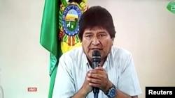 Prezidan Bolivi a, Evo Morales, ki t ap anonse demisyon li. (Foto: TV via REUTERS).