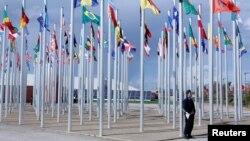 Quốc kỳ của các nước tại Hội nghị thế giới về biến đổi khí hậu ở Marrakech, Morocco, 6/11/2016.