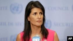 Duta Besar Amerika untuk PBB Nikki Haley berbicara kepada media di markas PBB di New York.